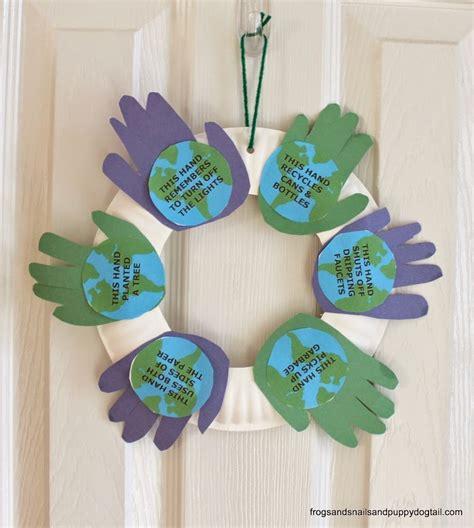 world crafts for handprint earth day wreath allfreekidscrafts