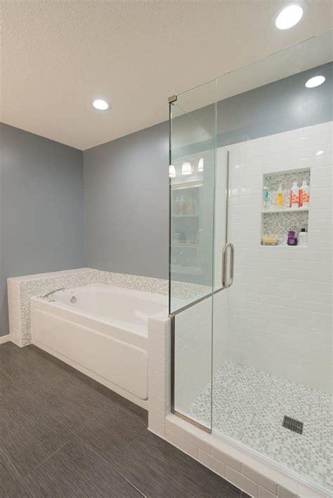 linen tile bathroom master bathroom remodel after glass mosaic tile white