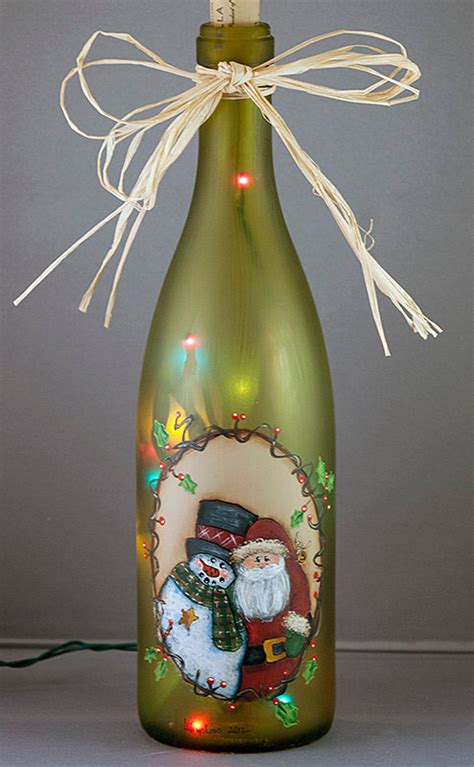 santa snowman christmas lighted wine bottle hand painted