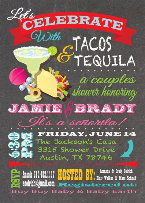 Couples Baby Shower Menu by Tacos And Tequila Couples Baby Shower Invitations
