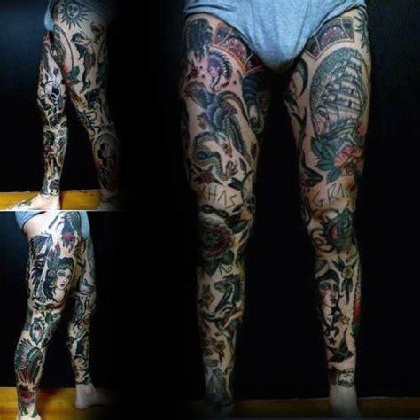 full leg sleeve tattoo 50 traditional leg tattoos for school design ideas