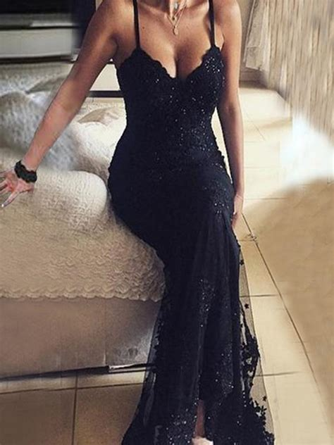 long beaded black lace vintage  neck sexy prom dresses