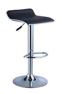 powell black faux leather chrome adjustable height bar