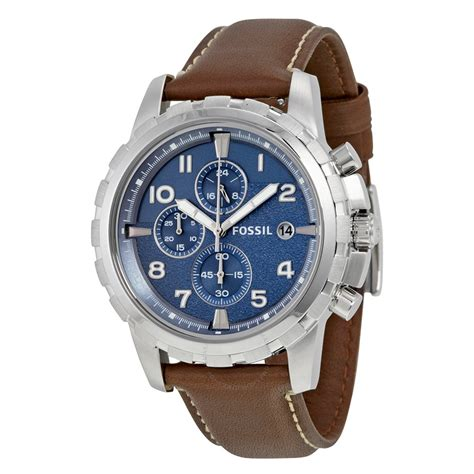 Fossil Wacth fossil dean chronograph blue brown leather s fs5022 dean fossil watches