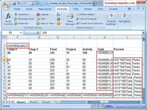 Spreadsheet Functions by Microsoft Excel Formulas Tab