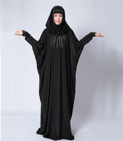 xxxl arab hijab women black abaya and hijab for muslim prayer with diamond