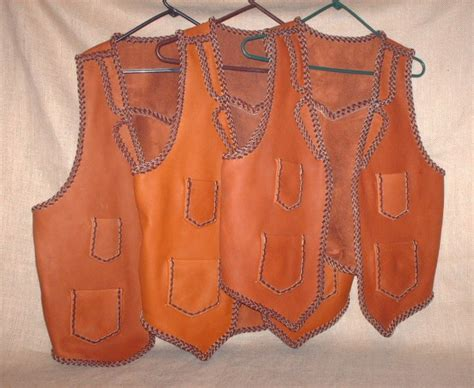 Handmade Leather Vest - brown leather vests handmade in the usa genuine braided