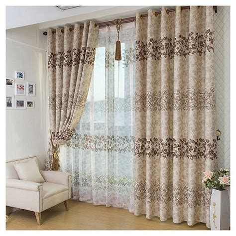 asian curtain asian leaf brown color blackout curtain and window treatments