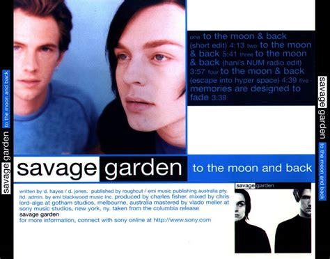 To The Moon And Back Savage Garden - car 225 tula trasera de savage garden to the moon and back