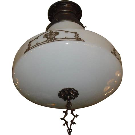 Chagne Bronze Light Fixtures Large Kayline Decorated Ceiling Light In Original Bronze Fixture From Sherlocksantiquelights On