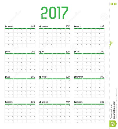 Kenya Calendario 2018 Vector Of Calendar 2017 New Year 12 Month Calendar Set