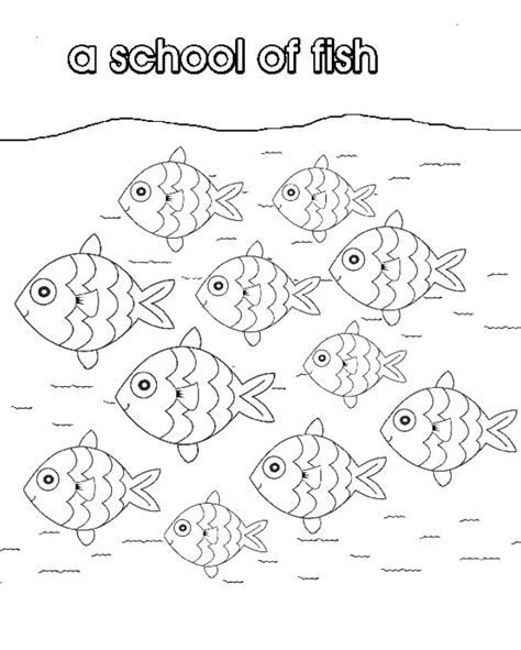 Coloring Page School Of Fish | school of fish collective nouns colouring pages az