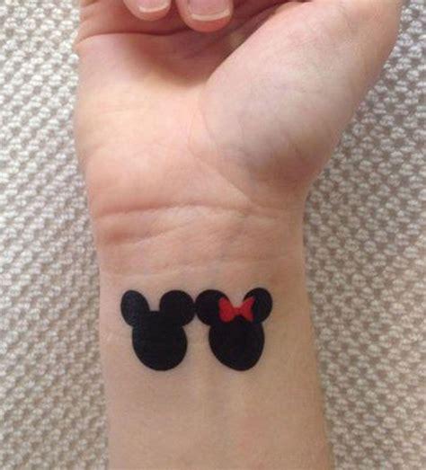 minimalist tattoo  mickey mouse  minnie mouse
