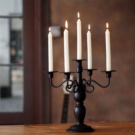 Dining Table Candle Holders black classical wrought iron dining table candle holder