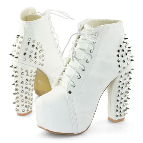 white lace up high heel boots womens black white spike stud lace up high chunky heel