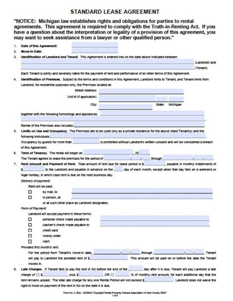 Free Michigan Residential Lease Agreement Pdf Word Doc Residential Lease Agreement Template Michigan