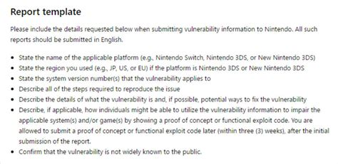 bug summary report template nintendo opens a bug bounty on the switch 3ds at hackerone