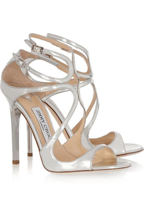 jimmy choo sandals jimmy choo lance metallic leather sandals in silver lyst