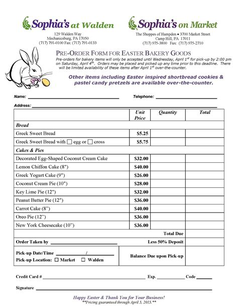 dinner order form template easter bakery order form s at walden your