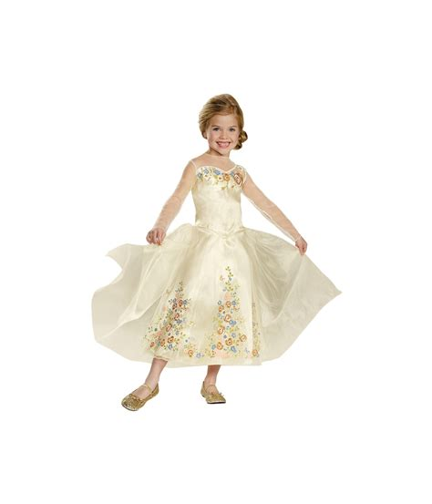 Kids Disney Cinderella Wedding Dress Deluxe Girls Costume