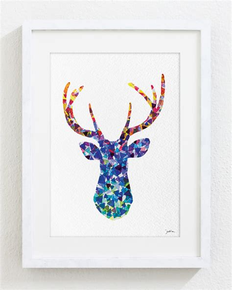 printable art etsy blue deer watercolor print 5x7 archival print deer