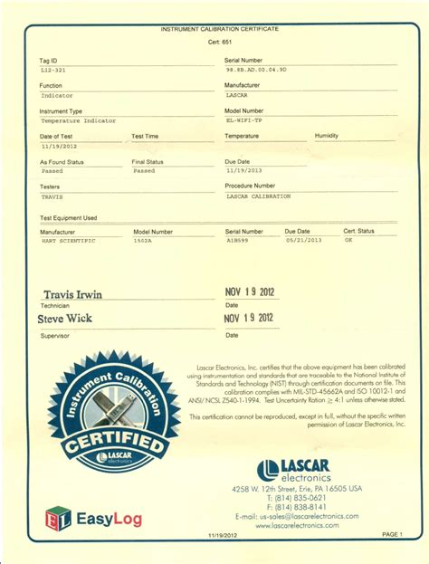calibration certificate template el usb series data loggers and calibration