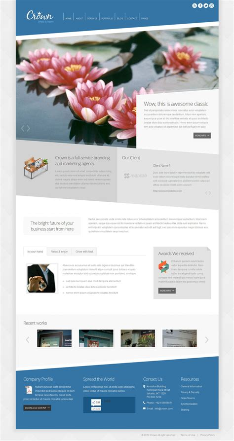 crown modern minimalist wordpress theme by indonez
