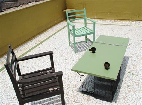 refrigerator door table is an exle of quot cool quot recycled furniture inhabitat green design
