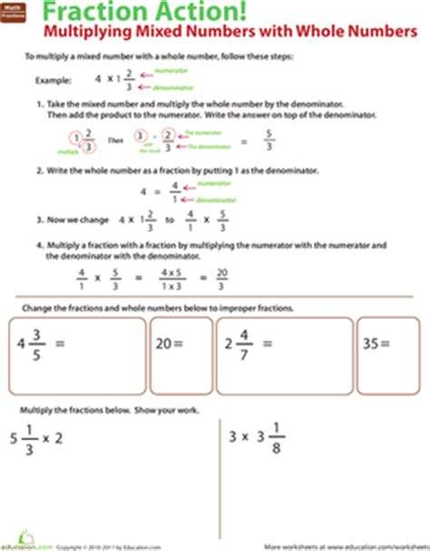 Multiplying Fractions And Whole Numbers Worksheets With Answers by Multiply Mixed Numbers With Whole Numbers Worksheet