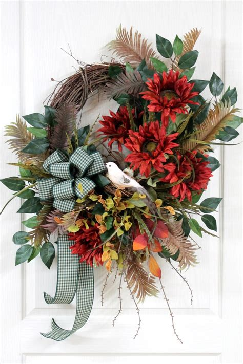 Country Wreaths For Front Door Large Country Wreath For Front Door Country Sunflowers Bird Bird Nest Eggs Great For