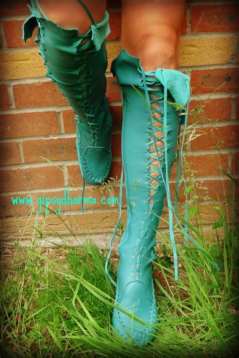 leather boots turquoise knee high leather boots