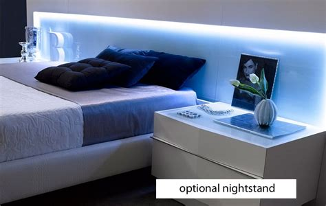 beds with lights in headboard j m valencia platform bed led lights white glass