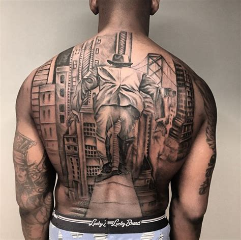 nfl players tattoos back by tat on nfl player aldon smith aldon