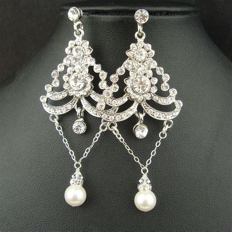 Chandelier Style Earrings Deco Style Chandelier Bridal Earrings Rhinestone Wedding