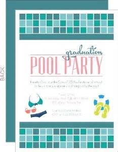 turquoise tile pool graduation invitation