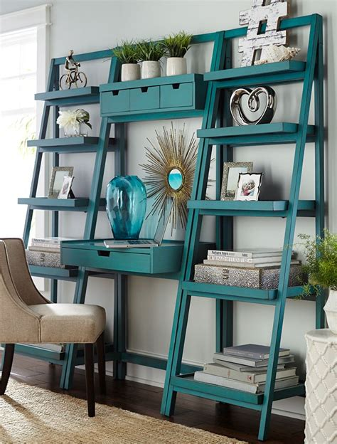 ladder desk and shelves morgan smoke blue tall shelf desk storage pine and 1 quot