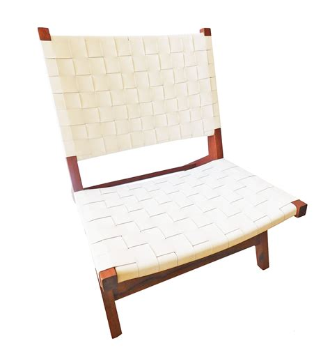 White Leather Lounge Chairs by White Interwoven Leather Lounge Chair Chairish