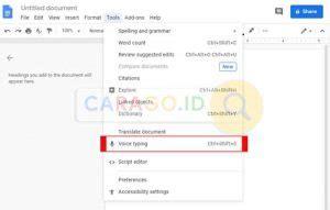 mengaktifkan voice typing  google docs  carago