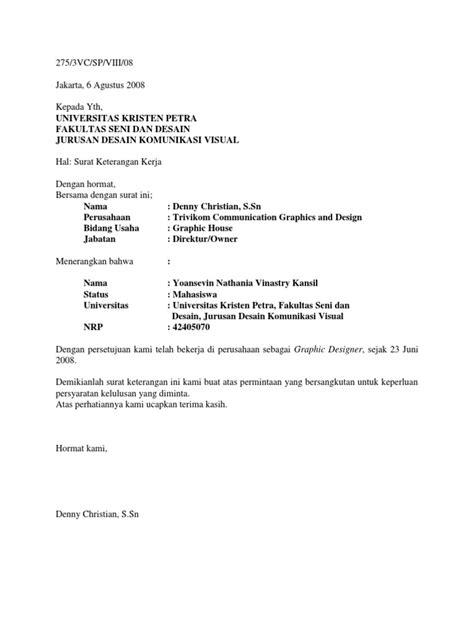Contoh Surat Penerimaan Karyawan Magang - Surat P
