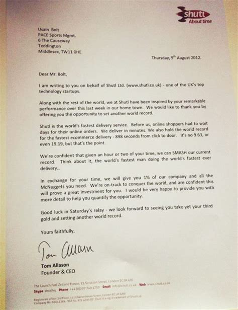 Awesome Offer Letters Usain Bolt Gets Most Awesome Endorsement Offer Yet Adweek