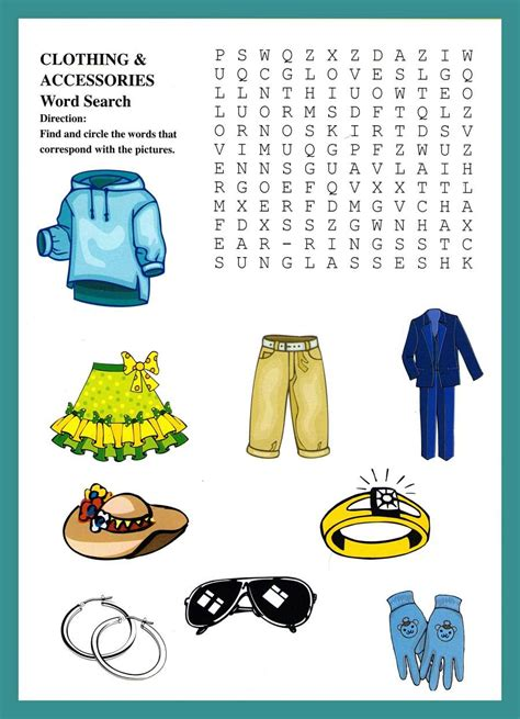 De Search Clothing And Accessories Word Puzzles