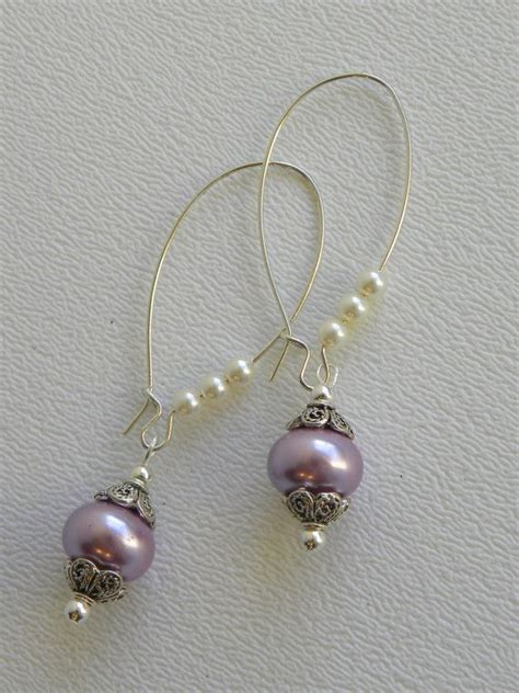 Handmade Beaded Earrings - lavender rondell pearl handmade beaded earrings silver