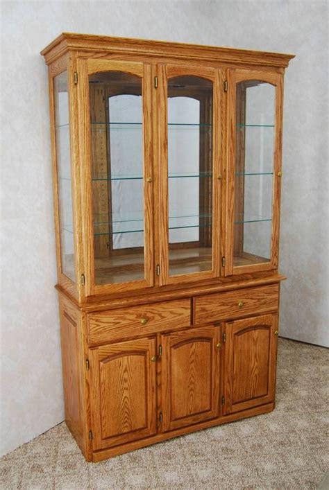 3 Door Oak China Hutch   De Vries Woodcrafters