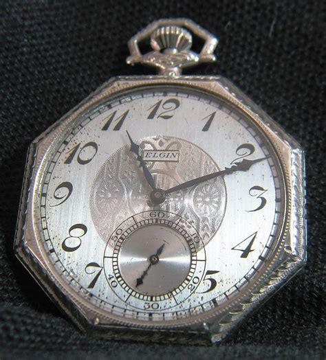 antique 1924 elgin deco 14k solid white gold s
