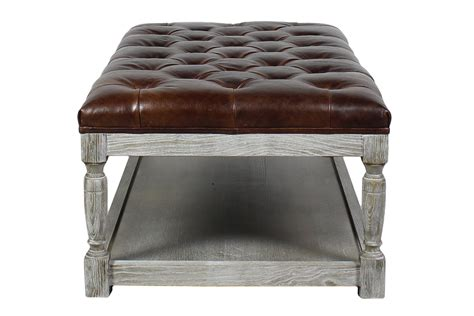 leather rectangle ottoman lucerne rectangular tufted leather ottoman shalimar cocoa