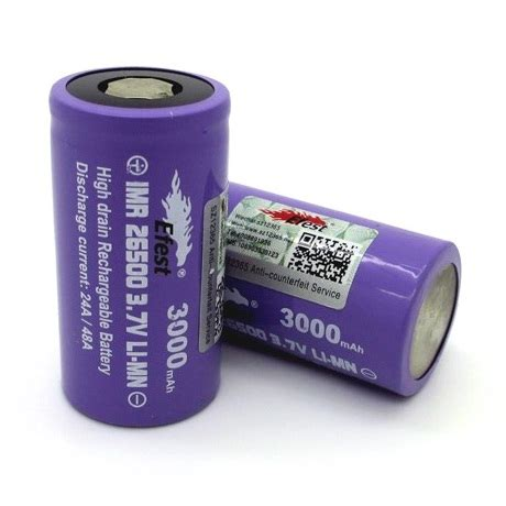 Efest Purple 18650 Li Mn Battery 3000mah 3 7v 35a Flat Top 18650v1 efest purple imr 26500 li mn battery 3000mah 3 7v 24a 48a