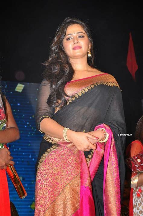 Anushka Shetty Wardrobe by Anushka Shetty In Black Saree At Rudhramadevi Launch Anushka Shetty