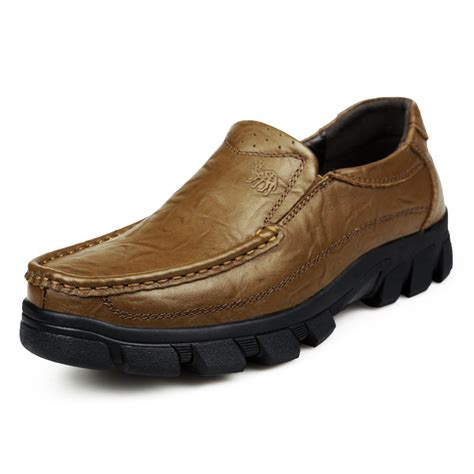 Toe Slip On Casual Shoes genuine leather classic moc toe slip on casual shoes
