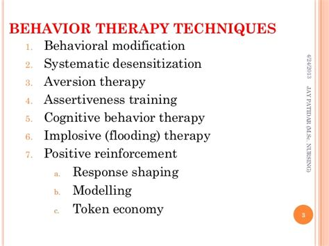 Behavior Modification Therapy by Behavior Therapy