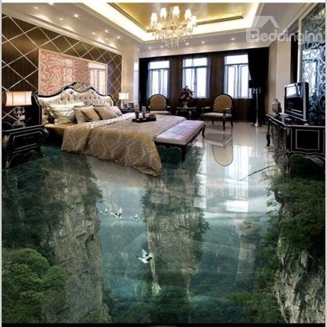 home floor and decor 3d green trees and mountain reflecting in lake waterproof